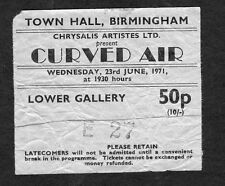 Original 1971 Curved Air Concert Ticket Stub Town Hall Birmingham UK