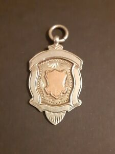 1918 WW1 Unused Silver & Gold Watch Chain Fob Necklace Pendant Ideal To Engrave