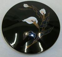 Vintage Black Porcelain Lidded Round Trinket Vanity Box Enameled Calla Lilies