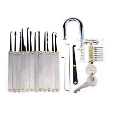 16pcs Training Tool Set Locksmith Practice Tools with Transparent Padlocks US