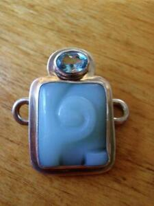"""Tabra 925 Sterling Amazonite & Blue Topaz """"S"""" Hook  Connector Charm Signed."""