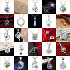 Women Fashion Cheap 925 Silver Crystal Heart Pendant Necklace Chain Jewelry