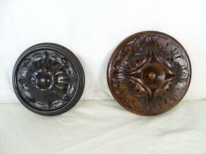 Antique French A Pair of  Round Hand Carved Wood Wall Plaque Decorative 19th