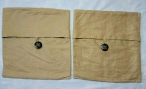 2 Pottery Barn Tan Woven Linen Pillow Covers Large Wood Look Button 18x18