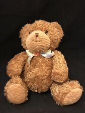 "Vintage Carters Prestige Brown Teddy Bear Plush 7"" Lovey Rattles Ribbon Hippo"