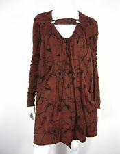 MAYLE Long Sleeve Original Label Dress Size 4 Brown 100% SILK V Neckline Pockets