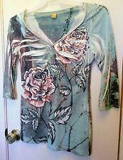 NEW! Just Kate. Multi colored floral print 3/4 sleeve top size S