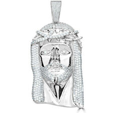 "HUGE 3"" Mens Jesus Head Diamond Cross Piece Pendant Real SOLID 925 Silver ICY"
