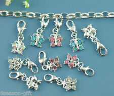 50 Mixed Butterfly Clip On Charm Fit Chain Bracelet