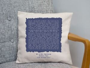 Kodaline 'The One' Personalised Song Lyrics Cushion 2nd Cotton Anniversary Gift