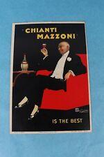 VTG 1947 CHIANTI MAZZONI BOLLO A TERGO ITALY WINE STORE ADVERTISING DISPLAY SIGN