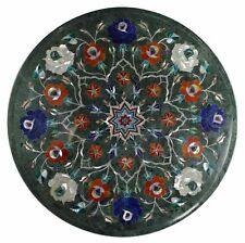 "15""x15"" Marble Coffee Table Top Semi Precious Stones Inlay Work"