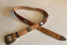 NAVAJO Trading Co women 27-30 Tan LEATHER BELT BUFFALO HORSE BOOT SILVER WESTERN