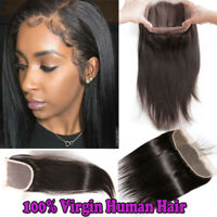 Pre Plucked 360 Frontal Closure Peruvian 100% Virgin Human Hair Curly Wavy 13x4