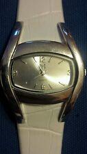 MC white faux leather ladies quartz watch