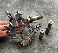 Vintage Antique Coating Brass Sextants Maritime Working Sextant w/ Telescop