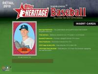 2019 Topps Heritage Baseball Insert Cards Pick From List (All Versions)