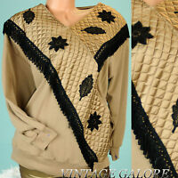 VTG Brown Gold Embroidered Quilted Tassel Fringe Long sleeve blouse top Sz XL