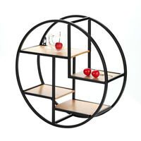 New Vintage Round Wall Unit Retro Iron Industrial Style Metal Shelf Rack Storage