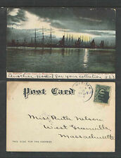 1906 693 BOSTON WATER FRONT BY MOONLIGHT MASS UDB UNDIVIDED BACK POSTCARD