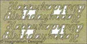 NEW Imaginarium Designs, chipboard words, Happy Birthday pk 4, each 6cm x 2.5cm