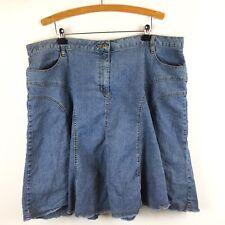 Faded Glory Jean  Skirt Denim Plus Size 24W Blue Stretch Factory Frayed Edge