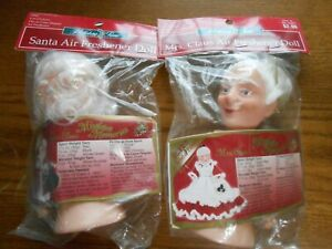 "Lot of 2 Fibre Craft Air Freshener Doll 6"" Santa & Mrs. Claus Mistletoe Memories"