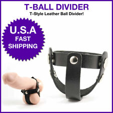 Male Ball Stretcher Men Penis T Style Leather  Ball Divider Separate Testicles