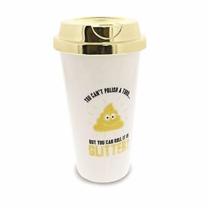 Glitter Poo Travel Cup Insulated Hot Tea Coffee Cup