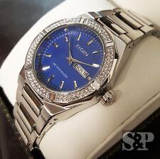 Men's Elgin Luxury Iced Out Blue Dial Stainless Steel Diamond Bracelet Watch