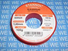 Stannol Lötzinn / Lötdraht 1mm 100g 60Sn40Pb (1kg=65,90�'�) 520529
