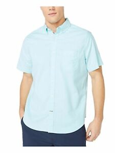 NAUTICA Mens Turquoise Heather Classic Fit Button Down Casual Shirt L