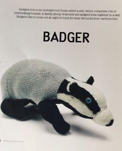 "Knitting Pattern For  Toy Animal Badger 21"" In Length"