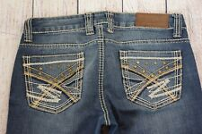 Cowgirl Up Womens jeans Size 29/33 blue Distressed Embellished pockets Bootcut