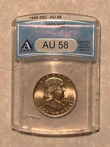 1950 ANACS AU (Almost Uncirculated) 58 Franklin Half Dollar Coin *