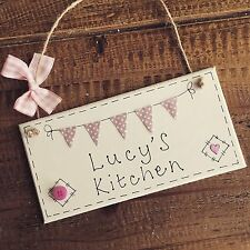 Personalised kitchen home sign plaque bunting pink gift present hanging name