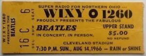 Beatles Original Concert Ticket Cleveland Stadium 14th Aug 1966