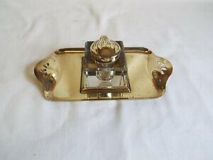 Nice brass Art Nouveau inkstand with glass inkwell.