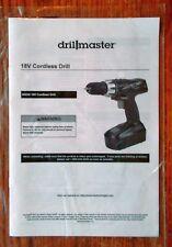 Drill Master 18 Volt Cordless Drill Operating Instructions Manual Booklet 68239