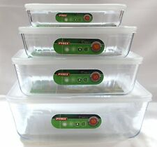 Pyrex, Set of 4 Pyrex Dishes with plastic lids. Sizes -19cm - 22cm - 25cm - 27cm