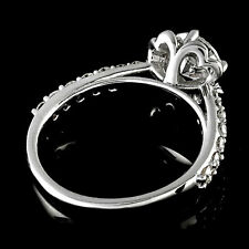 Halo Pave Antique 1.03 Carat Round Cut Diamond Engagement Ring 14K White Gold