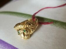 Lion Ring Size 4 Emerald Eyes 14k Pure Gold 5.7 Grams
