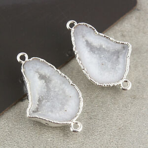 Polished Off-White Geode Druzy Silver Plated DIY Earring Pairs Connector Jewelry