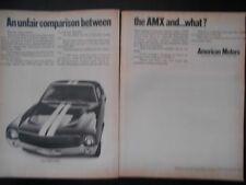 1969 AMERICAN MOTORS CORP AMC AMX AN UNFAIR COMPARISON BETWEEN AMX AND WHAT.. AD