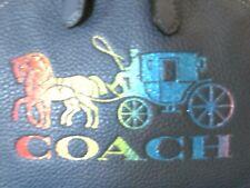 Coach Horse & Buggy Rainbow Glitter Denim Blue Leather Backpack F76772 NWT $378