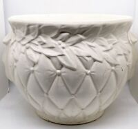 "Vtg McCoy Pottery White Ivory Leaves & Berries Jardinière Planter 8.5""H 12.5""W"