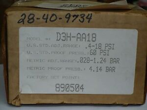 Barksdale D3H-AA18 Housed Diaphragm Pressure Switch, New