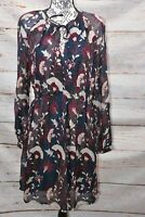 Lucky Brand Women's Blue Sheer Floral Print Casual Dress Size: Large