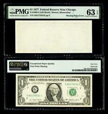 Missing Back Printing Error Fr. 1909-G $1 1977 Fr Note. Pmg Choice Unc 63Epq