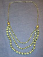 Longer Style 3 Strand GREEN GLASS BEAD/Gold Tone NECKLACE by Lydell NYC - 32 in